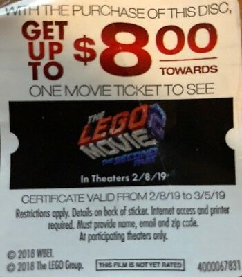 $8 Off A Movie Ticket To See The Lego Movie: The Second Part