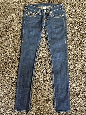 3d18b8ef TRUE RELIGION Jeans Women's Size 25 x 34 Stevie Skinny/Straight Leg Dark  Wash