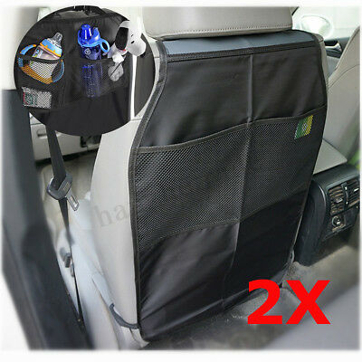 2x Universal Car Seat Back Kick Mat Storage Bag Protector Cover Keep Clean Nylon