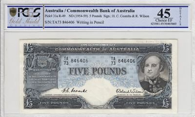 1954 Australia 5 Pound Banknote Coombs/Wilson Choice Extremely Fine 45 PCGS