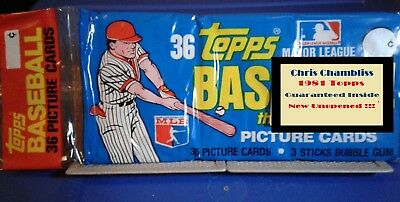 1981 Topps Unopened Baseball Cards Grocery Pack  Chris Chambliss - Free Shipping