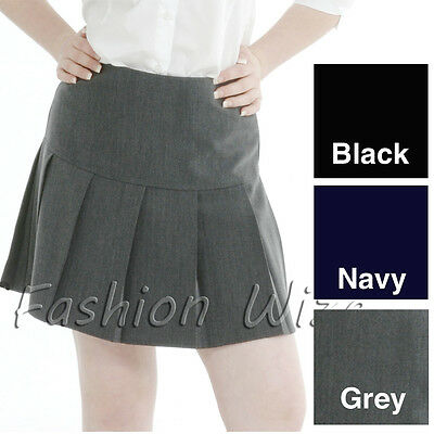 Girls Pleated School Skirt Drop Waist Grey Black Navy Ladies Ages 5-16 Size 6-24