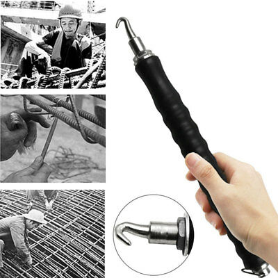 D9BF Durable Black Semi Automatic Pull Wire Hook Twister Tool Steel Bar Hook
