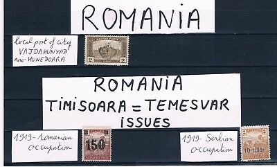 Romania-1919-Lot Of Local Issues- Occupation Of Timisoara + Vajdahunyad-3 Mnh