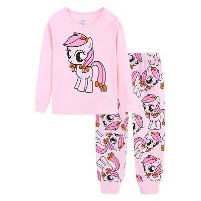 girls My Little Pony PJS 100% cotton long sleeve pyjamas sets size1-6 pink
