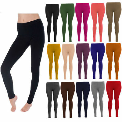 Ladies womens VISCOSE plain stretchy soft elasticated waist plus size LEGGINGS C
