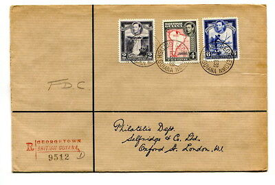 British Guiana 1938 GVI definitive 2c, 4c. & 6c. values registered f.d.c. to UK