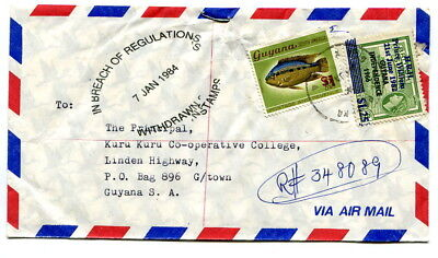Guyana 1984 $2.25 registered cover Parika IN BREACH REGULATIONS WITHDRAWN STAMPS