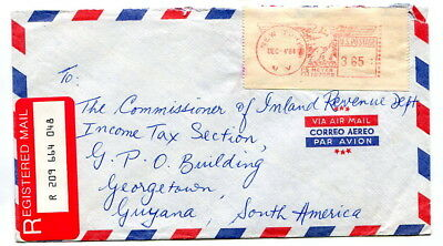 Guyana 1984 incoming meter paid $3.65 registered cover from USA to Georgetown