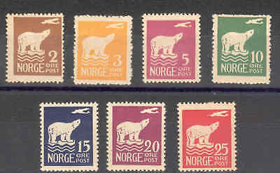 Norway 1925 AIR Amundsen's Polar Flight set mint, slightly toned gum