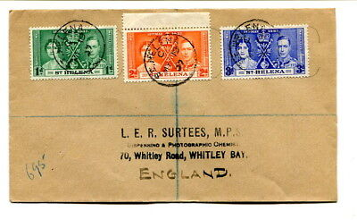 St. Helena 1937 Coronation set on registered first day cover to England