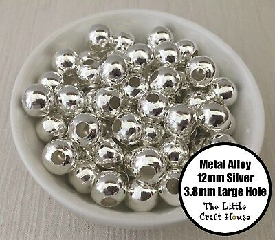 25PC 12mm Metal Alloy Round Silver Beads Large 3.8mm Hole Spacer Bead Shiny Big