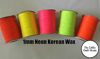 5m 10m 1mm Round Korean Wax Cotton Cord Neon Fluoro Coloured String Metres