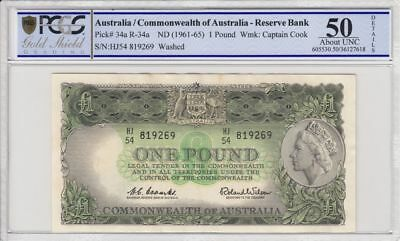 1961 Australia 1 Pound Banknote Coombs/Wilson About Uncirculated 50 PCGS Toned