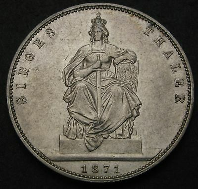 PRUSSIA (German State) 1 Thaler 1871 A - Silver - Victory of France - VF - 1295