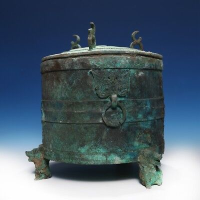 Archaic Chinese Han Dynasty Pot Storage Ritual Bronze Vessel And Cover DOU CS86