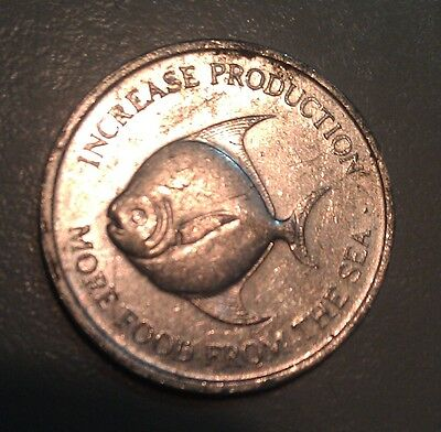 FAO pomfret fish Singapore 1971 5 cents aluminium coin
