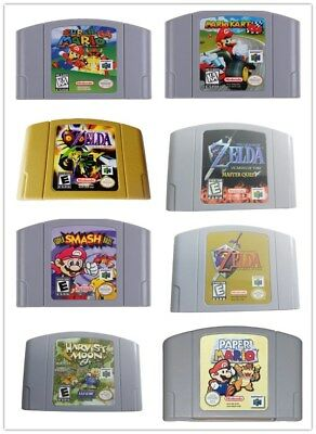 Mario Kart, Super Mario, Zelda  games card For N64  US version