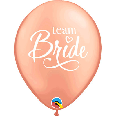 6 x Rose Gold Team Bride Script Latex Balloons Hen Party Bridal Party Decoration