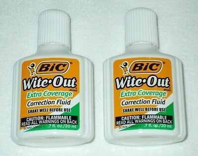 Two 2 BIC Wite Out Quick Dry Correction Fluid White Out Foam Brush Bottle .7 oz