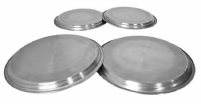 4 Hob Covers Metal Silver Chrome Electric Cooker Protector Ring Lid Set