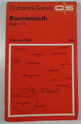 1970 Old Vintage OS Ordnance Survey Seventh Series One-Inch Map 179 Bournemouth