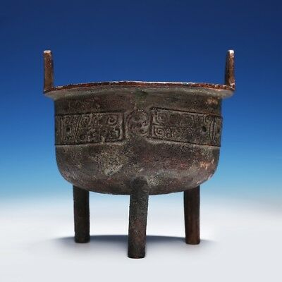 Valuable Chinese Ritual Song Dynasty Food Vessel Old Bronze Tripod Ding CS03