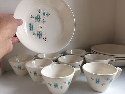 6 COFFEE Tea Cups & 6 SAUCERS - MATCHING 1960s VINTAGE RETRO COOL STYLE 60's mod