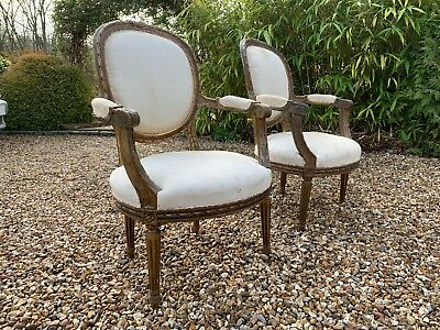 Pair of French Louis XV Style Giltwood Armchairs Fauteuil (for restoration)