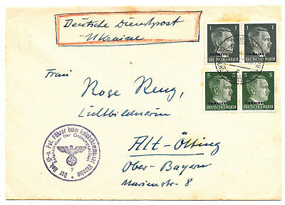 German Occupation Ukraine Ww Ii # 1, 4, Cover Official Mail Dienstpost (1942)