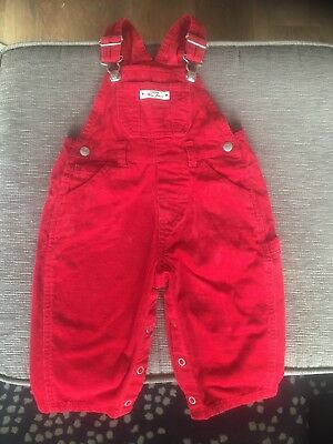 Bright Red Courdroy Dungarees By BabyGap 6-12 Months