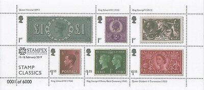 "GB 2019 ROYAL MAIL CLASSICS M/SHT EXCLUSIVE ""STAMPEX"" OPT ONLY 6000 issued U/M"