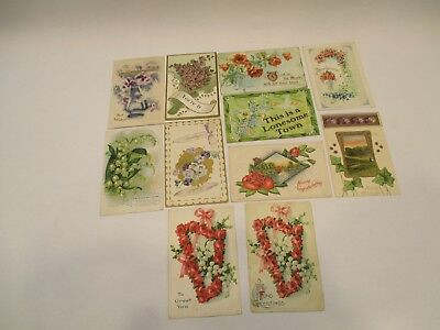 Vintage Early 1900's Mixed Lot Lithograph Embossed Print Post Cards See Pictures