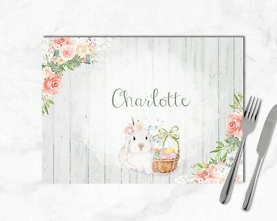 Personalised Easter Bunny Laminated Table Place Mat - Any Name
