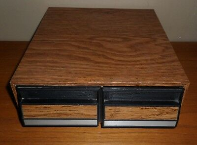 Vintage DOUBLE Drawer CASSETTE Tape Storage HOLDER  with Wood Grain Finish
