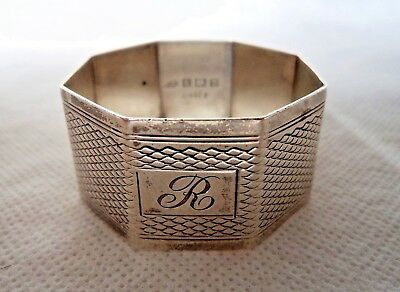 Engine Turned 1951 Solid / Sterling Silver Napkin Ring – Engraved R