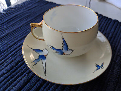 Antique J & C Bavaria Hand Painted Blue Bird, Swallow Cup and Saucer