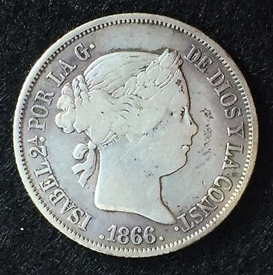 1866 Spain 40 Centimos - Madrid - 0.810 Silver Isabel II Coin KM#628.2 (S028)