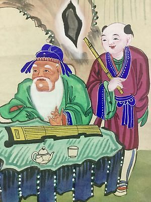 Antique Long Hand Painted Chinese Watercolor Paper Scroll Old Young Man Flute