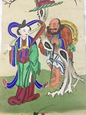 Antique Long Hand Painted Chinese Watercolor Paper Scroll Man Woman Landscape