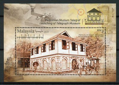 Malaysia 2018 MNH Telegraph Museum 1v M/S Inventions Museums Architecture Stamps