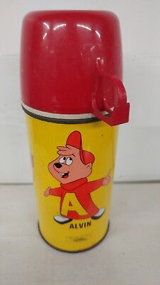 Vintage 1963 Alvin And The Chipmunks Metal Thermos Rare and Colorful! SALE!