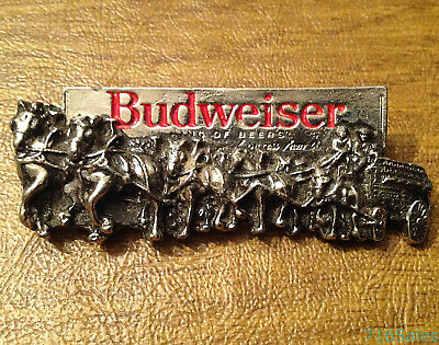 """Vintage Large 3"""" Budweiser Clydesdale Horse & Wagon Cart Silver Tone Pin"""