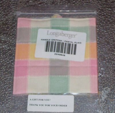 Longaberger Pastel Plaid HANDLE GRIPPER Button-Style ~ New in Original Bag!