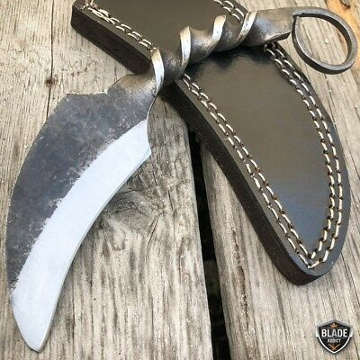 Hand Forged Railroad Spike Karambit Claw Fixed Blade Hunting Knife Carbon Steel