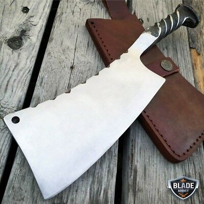 Hand Forged Railroad Spike Hunting Knife Fixed Blade Carbon Steel Cleaver + Case