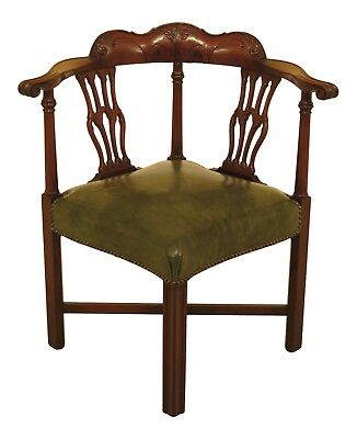 46575EC: COLONIAL Carved Mahogany Chippendale Corner Chair w. Leather Seat