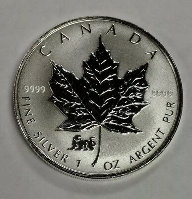 1998 Canada $5 1 oz 9999 Fine Silver Reverse Proof Maple Leaf Tiger Privy Coin