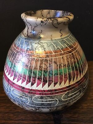 Native American Artist Navajo Colorful Pottery Pot Vase Signed