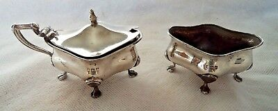 Antique 1915 Solid / Sterling Silver Salt Cellar & Mustard Pot